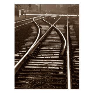 Postcard ~ EMPTY TRAIN TRACKS ~ Railroad Switch