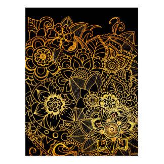 Postcard Floral Doodle Gold G523