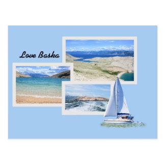 postcard for Baska, island Krk, Croatia