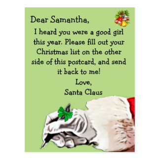 """""""Postcard from Santa Claus"""" for child Postcard"""