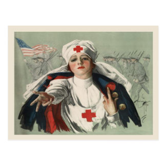 Postcard from WWII with American Red Cross Print