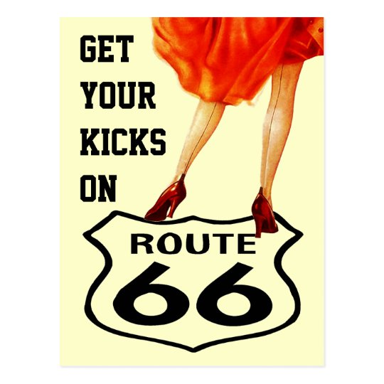 Postcard GET YOUR KICKS ON ROUTE 66 Retro Style