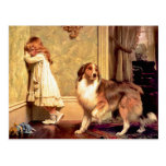 Postcard: Girl with Pet Sheltie