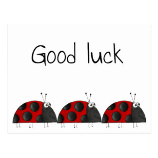 Postcard good luck, congratulation map, ladybird