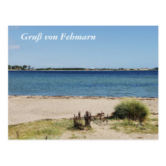 Postcard greeting from Fehmarn beach and sea