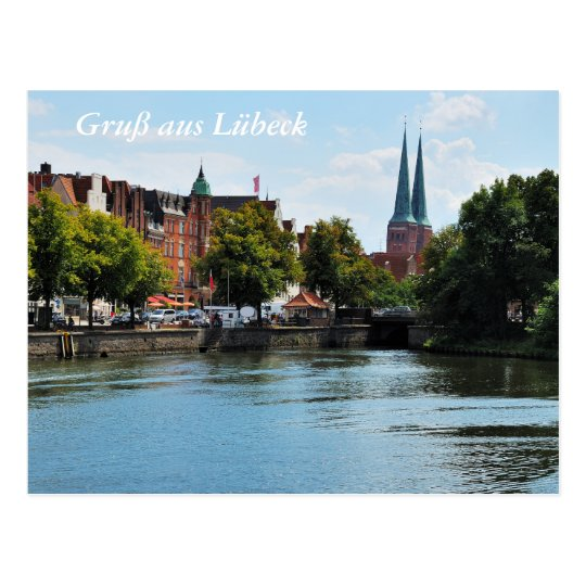 Postcard greeting from Luebeck with Untertrave