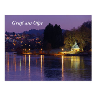 Postcard greeting from Olpe with Biggesee at night