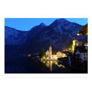 Postcard - Hallstatt at night, Austria