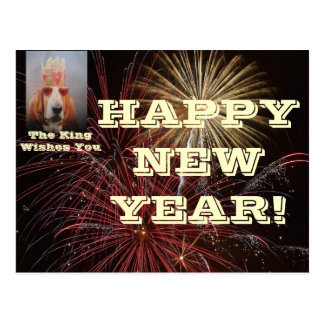Postcard Happy New Year With Basset Hound King