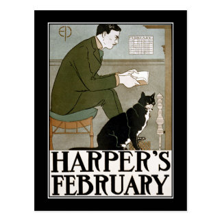 Postcard: Harper's February by Edward Penfield Postcard