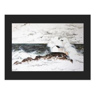 Postcard Headlight Storm Sea Clouds Watercolour