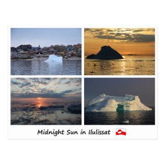 Postcard Ilulissat midnight sun