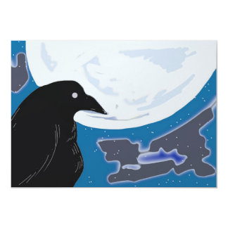 Postcard invitation Crow With Moon