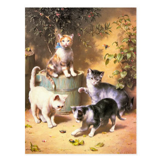 """Postcard: """"Kittens Playing with Beetles"""" Postcard"""