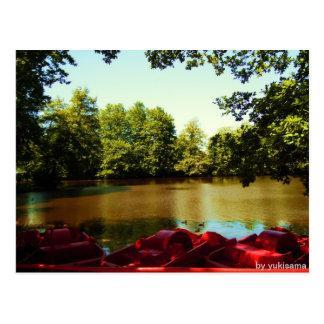 Postcard - lake with paddle boats