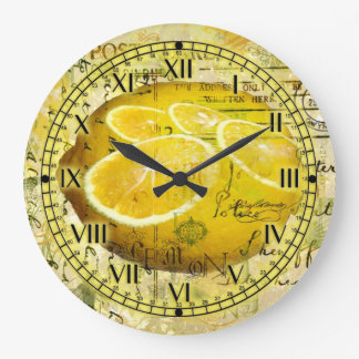 Postcard Lemons Large Clock