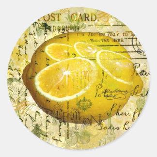 Postcard Lemons Round Sticker