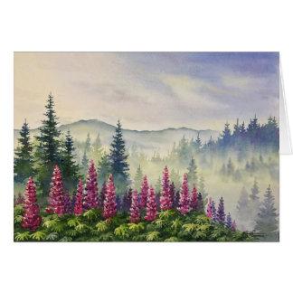 Postcard - Lupines in Summer Fog