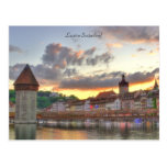 Postcard Luzern Switzerland Old Town Chapel Bridge