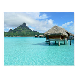 Postcard of an overwater resort on Bora Bora