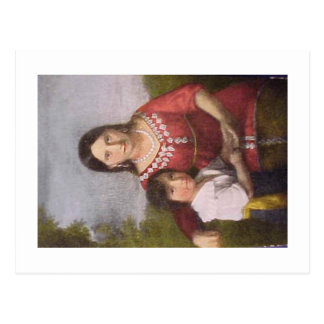 Postcard of Pocahontas with her son.