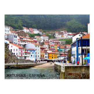 postcard of the town of Cudillero, in Asturias