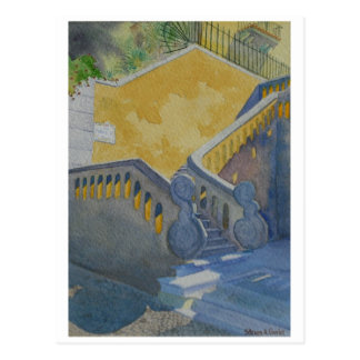 Postcard of watercolor painting, Cascais Staircase