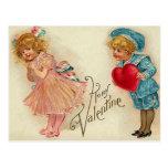 Postcard - old-fashioned valentine girl boy heart