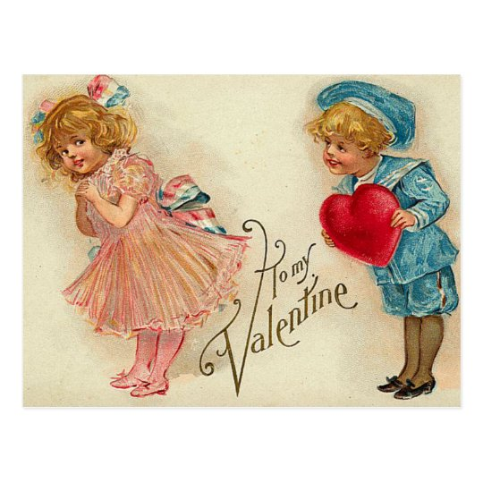 Postcard - old-fashioned valentine girl boy heart
