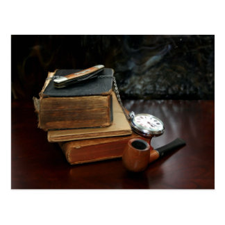 POSTCARD: Pipe smoking and vintage books Postcard