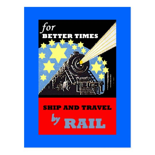 POSTCARD PROMO FOR VINTAGE RAILROAD TRAIN TRIPS AD