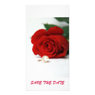 postcard red rose  SAVE THE DATE Photo Greeting Card