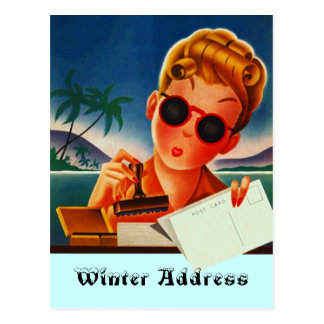 Postcard Retro Vacation Contact or Winter Address