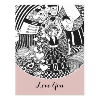 Postcard Rose Gold Valentine 'Love You' Nutcracker