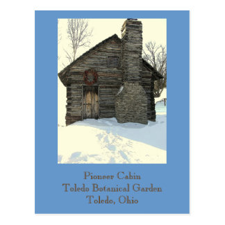 "postcard, ""Rustic Pioneer Cabin in Snow"" Postcard"