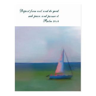 Postcard, Sailing Boat Bible Scripture, Seek Peace Postcard