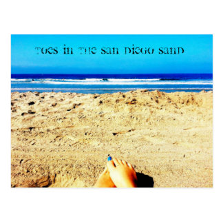 Postcard San Diego beach sand toes blue