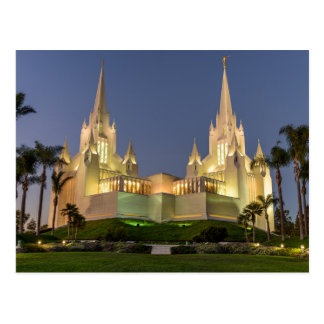 Postcard: San Diego LDS Temple Evening image Postcard