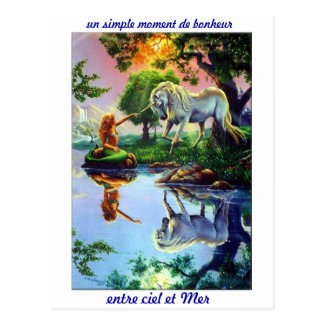 Postcard sea siren unicorn shades light