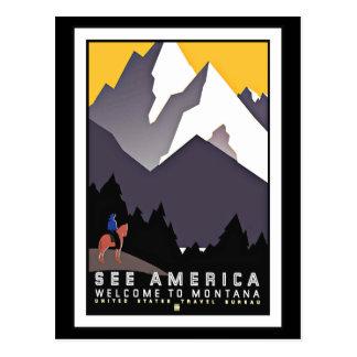 Postcard See America Montana Greetings Vintage