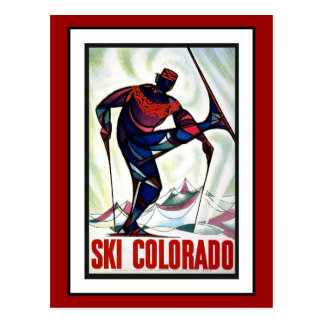 Postcard Ski Colorado Greetings Vintage