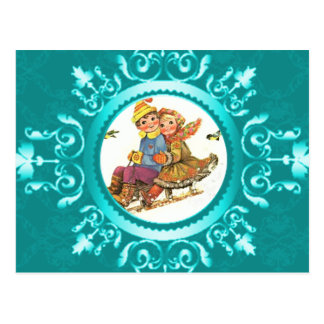 Postcard Sleigh Ride or Your Photo Icy Blue Frame