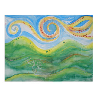 Postcard Swirly Sky Rolling Hills