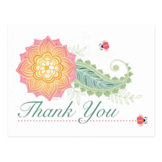 postcard thank you flower paisley leaves lady bugs