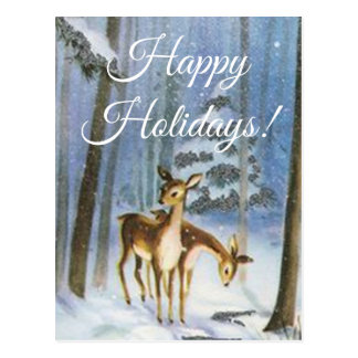 Postcard two Baby Fawn in a Snowy Forest