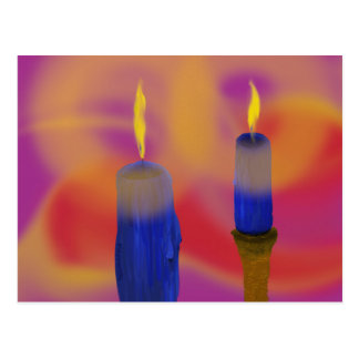 Postcard two blue candles red and purple backgroun