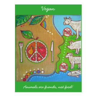 Postcard vegan animals friends not food