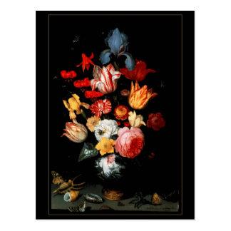 Postcard Vintage Art Still Life Flowers Bugs Shell