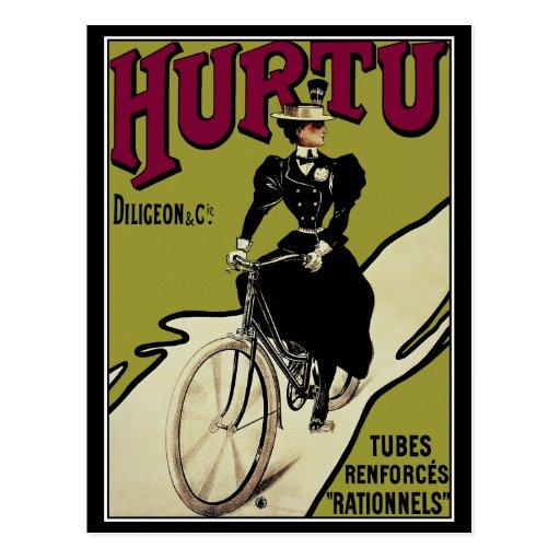 Postcard: Vintage Bicycle Ad for Hurtu Bicycles