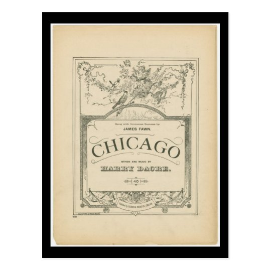Postcard-Vintage Chicago Art-Chicago Words & Music Postcard